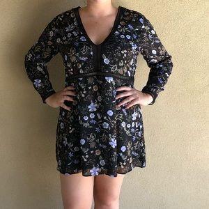 Boohoo Black Floral Deep V Dress